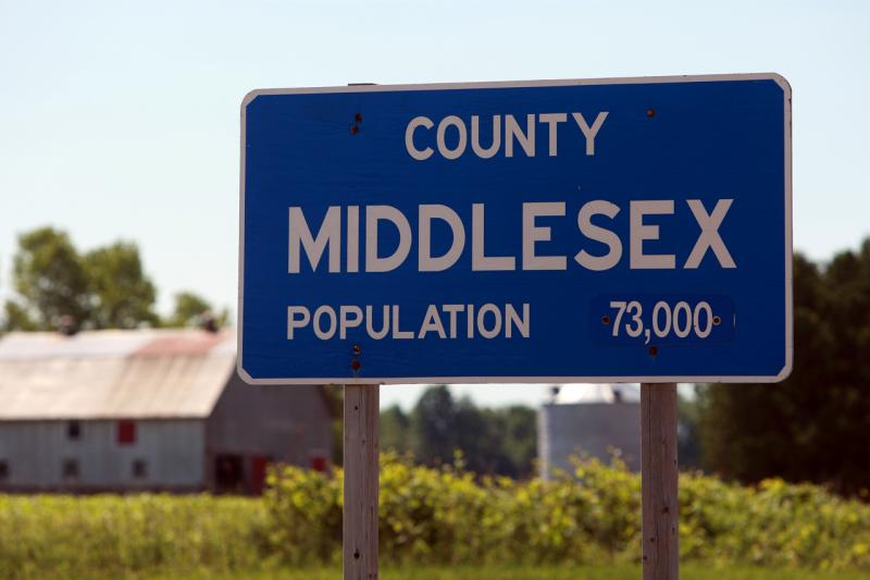 County Middlesex Road Sign